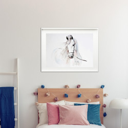 Poster Equitation cheval blanc
