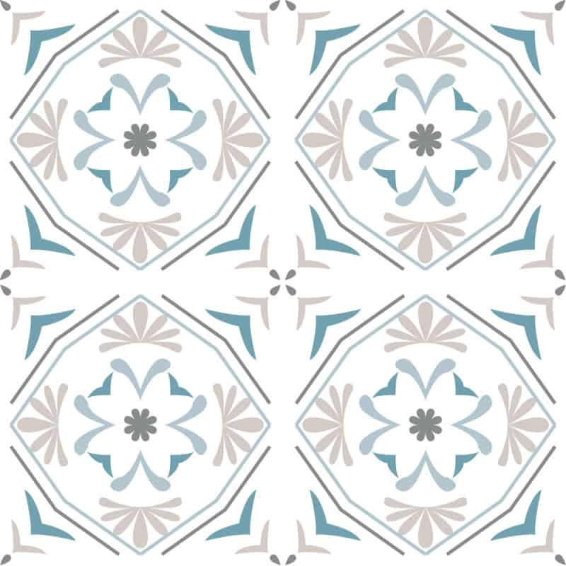 Adhesif Carrelage Sol - Vendu a l'unite - LEAF BLUE (CARRSOL035)