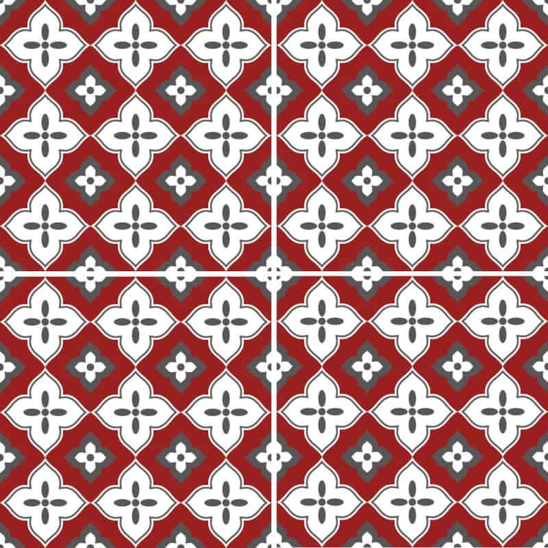 Adhesif Carrelage Sol - Vendu a l'unite - PALMERA RED (CARRSOL050)