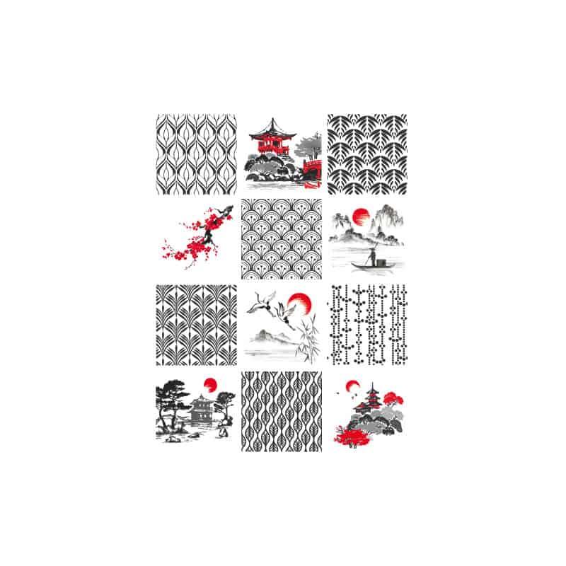 PLANCHE CARREAUX DE CIMENT JAPANISCH (CIM0058)