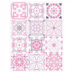 PLANCHE DE STICKERS IMITATION CARREAUX DE CIMENT PINKNIGHT (CIM0075)