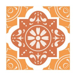 STICKERS CARREAUX DE CIMENT ORANGEFLOWERS (CIMENT0028)