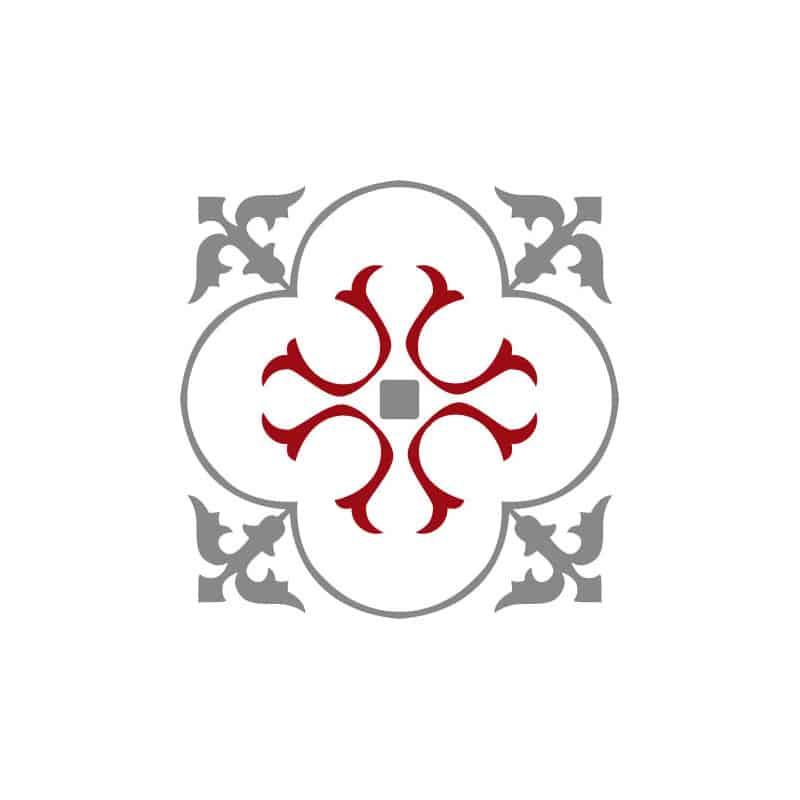 STICKERS CARREAUX DE CIMENT A L'UNITE ARABESK GREYRED (CIMENT0105)