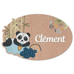 plaque de porte en bois personnalisable panda