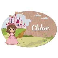 plaque de porte en bois personnalisable princesse