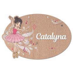 Plaque de porte bois personnalisable danseuse
