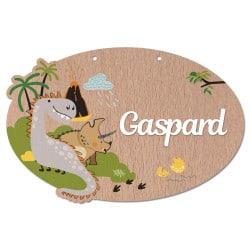 plaque de porte en bois personnalisable dinosaures