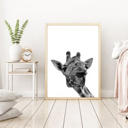 POSTER GIRAFE PHOTO NOIR ET BLANC (POST0092)