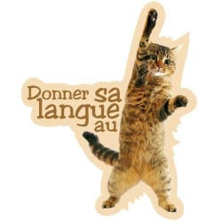 STICKERS ANIMAUX DONNER SA LANGUE AU CHAT (I0085)