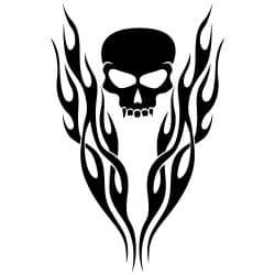 STICKERS VOITURE CAPOT SKULL ET FIRE  (J0091)