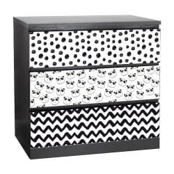 LOT DE 3 STICKERS PANDI POUR TIROIRS SUR MEUBLES IKEA MALM MIMALM013