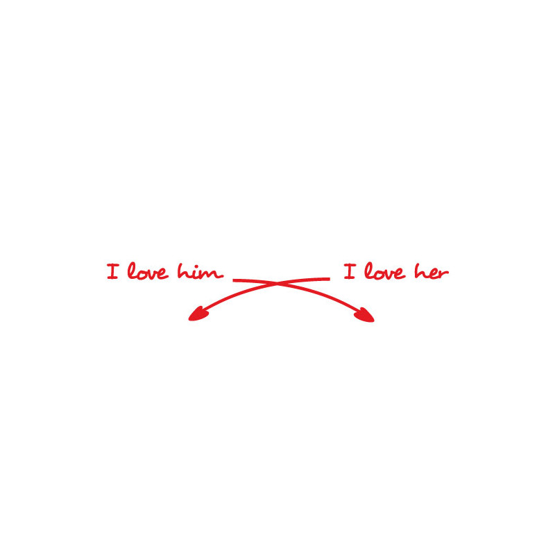 STICKER TETE DE LIT I LOVE HIM-HER (O0064)