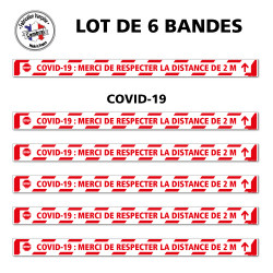 SIGNALISATION AU SOL COVID-19 - LOT DE 6 BANDES DE MARQUAGE AU SOL ADHESIVES AVEC COLLE FORTE - SIGNALETIQUE CORONAVIRUS - COVID
