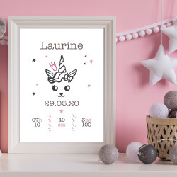 POSTER CADRE DE NAISSANCE LICORNE GIRLY PERSONNALISABLE (CADRE016)
