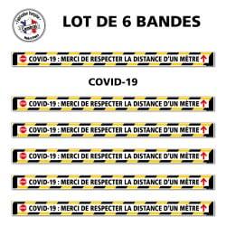 SIGNALISATION SPECIAL SOL COVID-19 - LOT DE 6 BANDES DE MARQUAGE AU SOL ADHESIVES CORONAVIRUS AVEC COLLE FORTE - COVID19 : MERCI