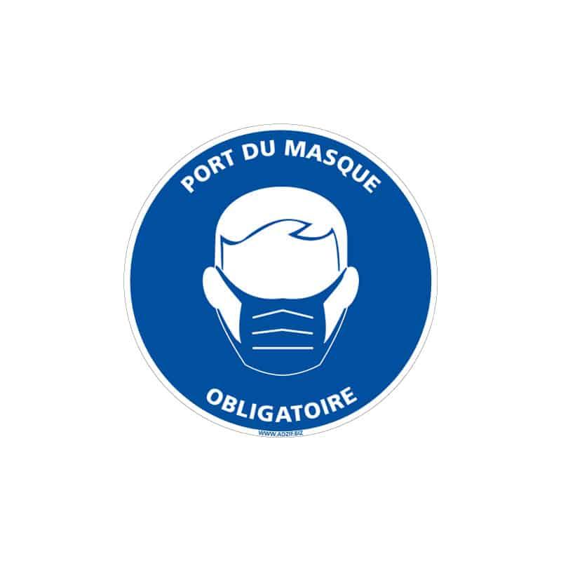 ADHESIF DE SIGNALISATION COVID-19 - MESURES DE PREVENTION - GESTES BARRIERES - PORT DE MASQUE OBLIGATOIRE (COVID009)
