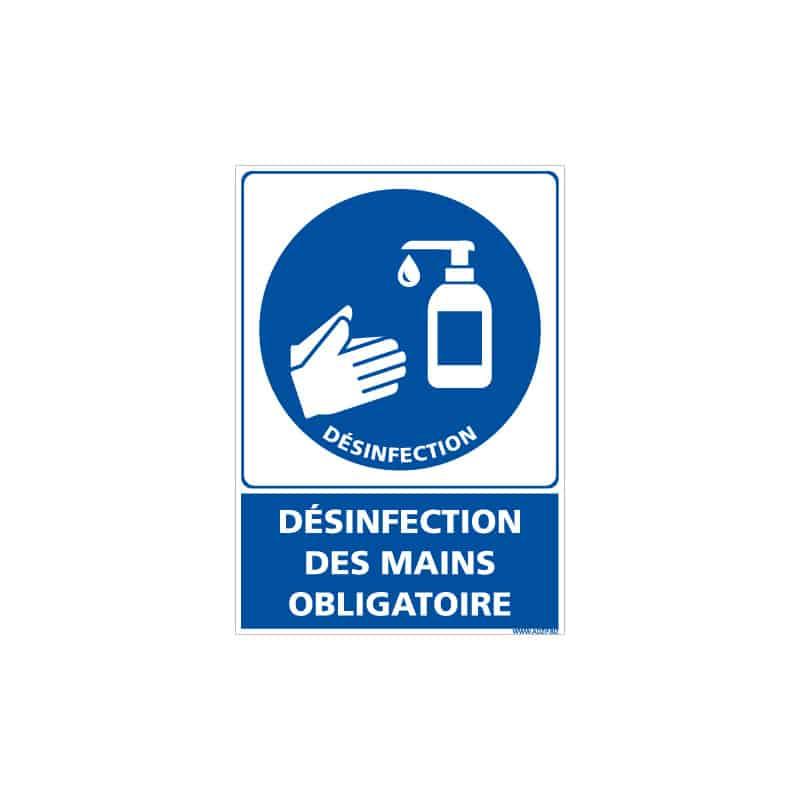 ADHESIF DE SIGNALISATION CORONAVIRUS - MESURES DE PREVENTION COVID19 - DESINFECTION DES MAINS OBLIGATOIRE (COVID012)