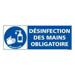 ADHESIF DE SIGNALISATION COVID-19 - MESURES DE PREVENTION - GESTES BARRIERES - DESINFECTION DES MAINS OBLIGATOIRE (COVID013)