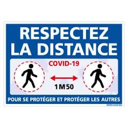 PANNEAU DE SIGNALISATION COVID19 - RESPECTEZ LA DISTANCE DE SECURITE POUR VOUS PROTEGER ET PROTEGER LES AUTRES DE 1M50 (COVID015