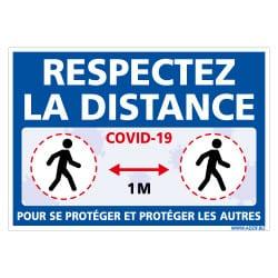 PANNEAU DE SIGNALISATION - MESURES DE SECURITE COVID19 - GESTES BARRIERES CORONAVIRUS - RESPECTEZ LA DISTANCE DE PREVENTION POUR