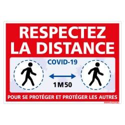 PANNEAU DE SIGNALISATION SPECIAL CORONAVIRUS - GESTES BARRIERES COVID19 - RESPECTEZ LA DISTANCE DE SECURITE DE 1M50 (COVID017)