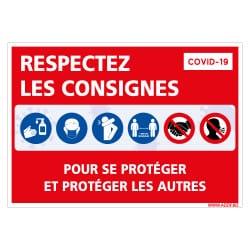 PANNEAU DE SIGNALISATION CORONAVIRUS - RESPECTEZ LES CONSIGNES DE SECURITE POUR VOUS PROTEGER ET PROTEGER LES AUTRES PENDANT L'E