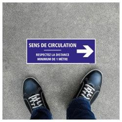 SIGNALISATION DE SOL ADHESIVES AVEC COLLE FORTE SPECIAL COVID19 - SENS DE CIRCULATION FLECHE VERS LA DROITE - GESTES BARRIERES C