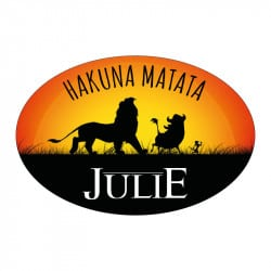 STICKER PLAQUE DE PORTE PERSONNALISABLE HAKUNA MATATA ROI LION (E0313)