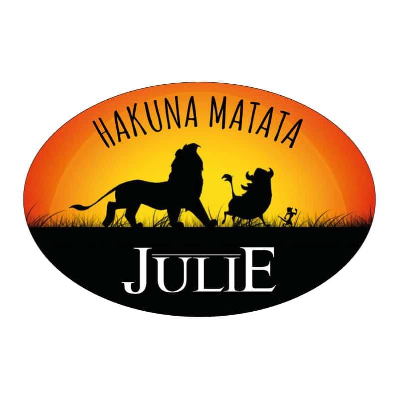 STICKER PLAQUE DE PORTE PERSONNALISABLE HAKUNA MATATA ROI LION (E0313)