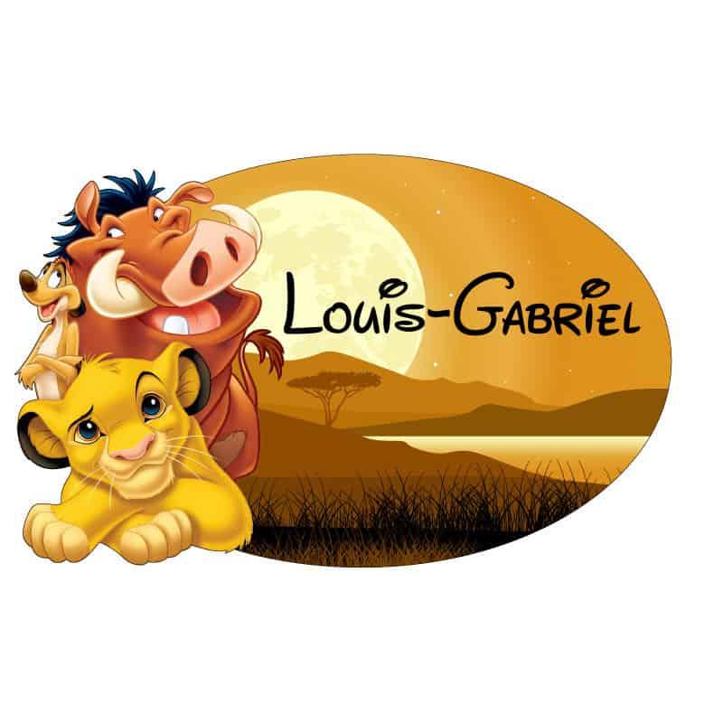 STICKER PLAQUE DE PORTE PERSONNALISABLE ROI LION (E0321)†