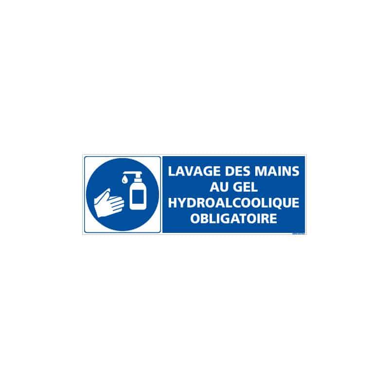 ADHESIF SPECIAL CORONAVIRUS - LAVAGE DES MAINS AVEC DU GEL HYDROALCOOLIQUE OBLIGATOIRE (COVID025)