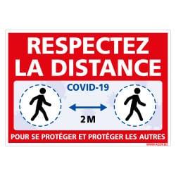 PANNEAU DE SIGNALISATION COVID-19 - MESURE DE PREVENTION CORONAVIRUS - RESPECTEZ LES DISTANCE DE SECURITE DE 2M (COVID031)
