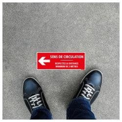 SIGNALISATION DE SOL CORONAVIRUS AVEC COLLE FORTE - GESTES BARRIERES COVID19 - RESPECTER UNE DISTANCE DE SECURITE DE 2M - SENS D