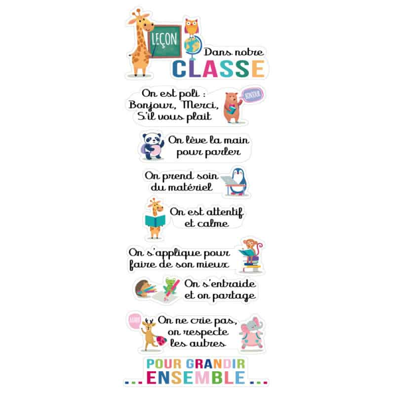 PLANCHE DE STICKER DANS MA CLASSE (I0273)