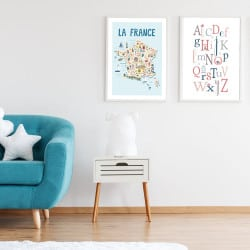 POSTER ABECEDAIRE FILLE OISEAUX (POST0001)