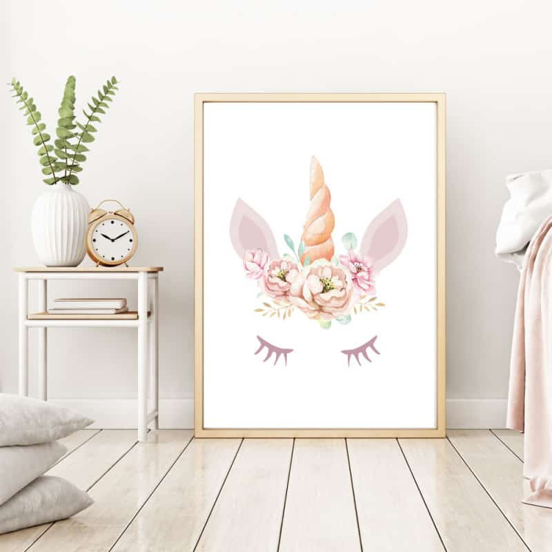 POSTER LICORNE COURONNE FLEURIE (POST0085)
