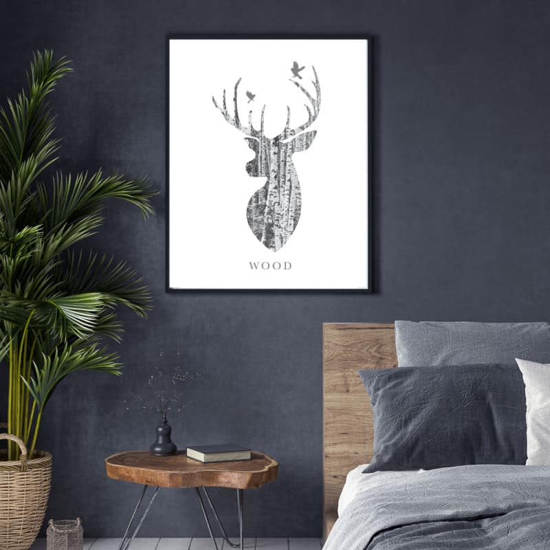 POSTER CERF WOOD (POST0090)