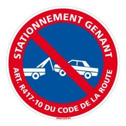 SIGNALISATION STATIONNEMENT GENANT ART CODE DE LA ROUTE