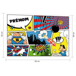 STICKER TETE DE LIT SUPER HEROS PERSONNALISABLE (TETE_LIT_022)