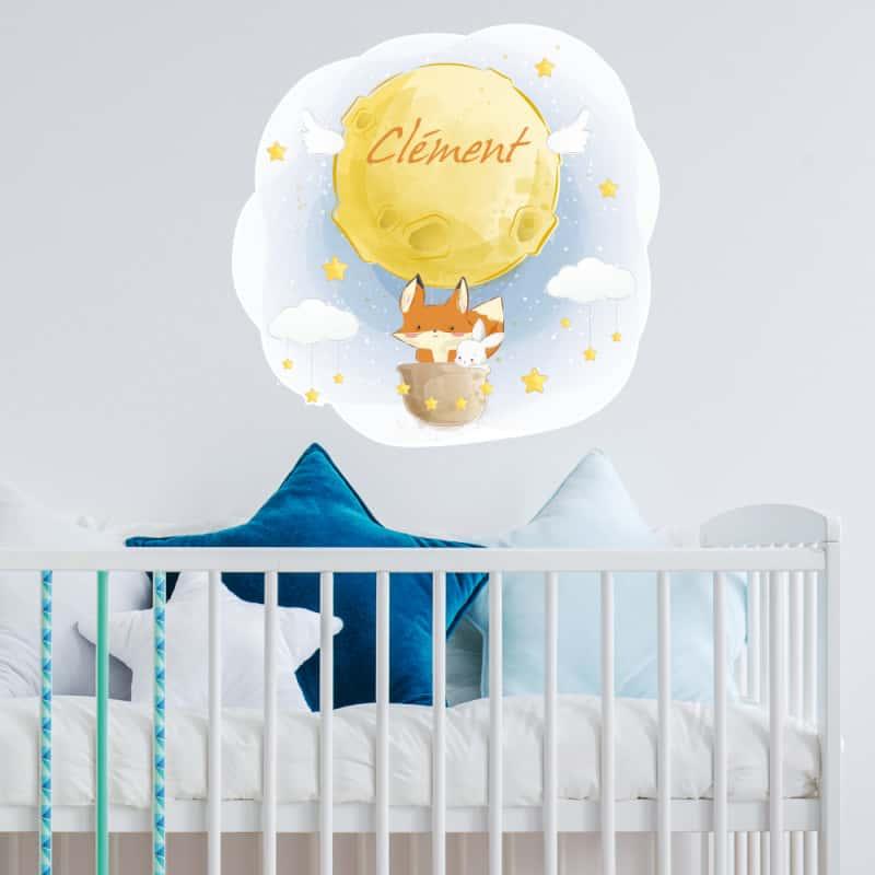 STICKER TETE DE LIT POUR CHAMBRE D'ENFANT - LA TETE DANS LES ETOILES - PERSONNALISABLE AVEC LE PRENOM DE VOTRE ENFANT (TETE_LIT_