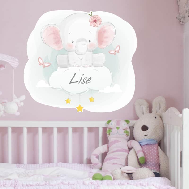 STICKER TETE DE LIT - IDEAL POUR CHAMBRE - BABY ELEPHANTEAU - PERSONNALISABLE AVEC LE PRENOM DE VOTRE ENFANT (TETE_LIT_038)