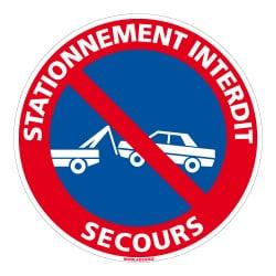 PANNEAU STATIONNEMENT INTERDIT AVEC PICTO - SECOURS