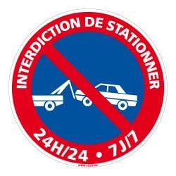 PANNEAU INTERDICTION DE STATIONNER - 24H/24, 7J/7