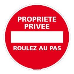 PANNEAU PROPRIETE PRIVEE ROULEZ AU PAS