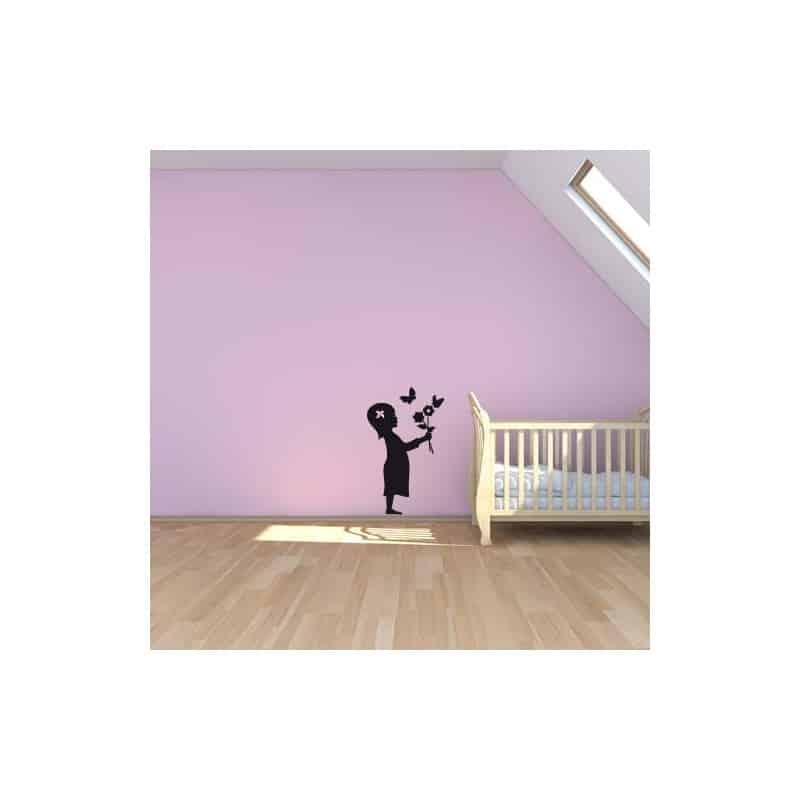STICKER ENFANT FILLE AUX PAPILLONS (E0256)