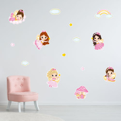 STICKER FILLE PLANCHE FEES PRINCESSES (E0300)