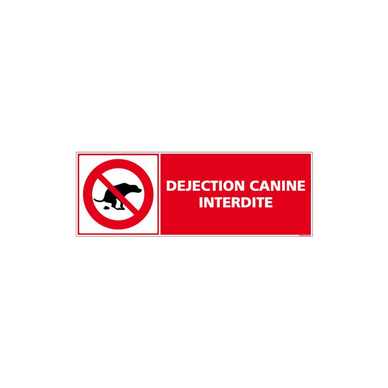 PANNEAU DEJECTIONS CANINES INTERDITES AU FORMAT 210X75MM