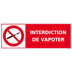 SIGNALISATION INTERDICTION DE VAPOTER AU FORMAT DE 210X75 MM