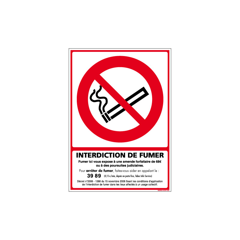 PANNEAU OU ADHESIF INTERDICTION DE FUMER - AVEC UN FORMAT DE 150X210MM