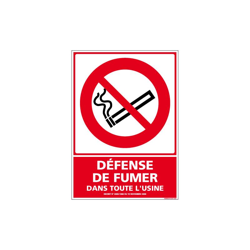PANNEAU DEFENSE DE FUMER DANS TOUTE L'USINE AU FORMAT 150X210 MM